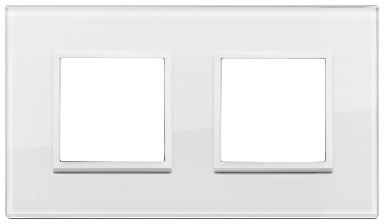 Накладка Evo на 4 модуля (2+2) расстояние между центрами 71мм, полностью белый бриллиант