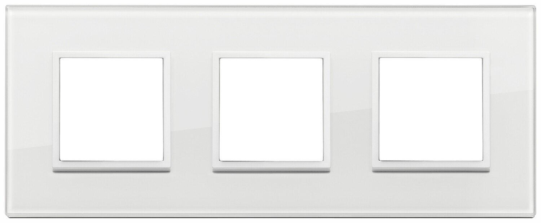 Накладка Evo на 6 модулей (2+2+2) расстояние между центрами 71мм, полностью белый бриллиант