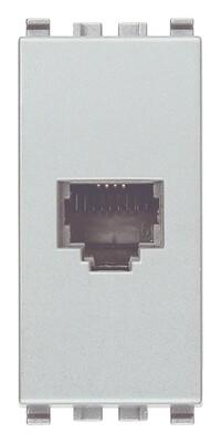 Розетка RJ11 6/4 для штекера ,серебро матовое