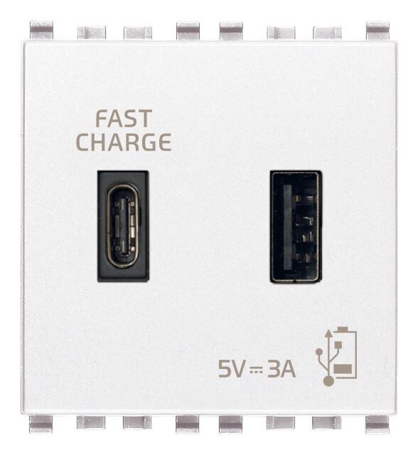 ЗарядноеустройствосразъемомUSBA+C5V3A,2модуля,белое