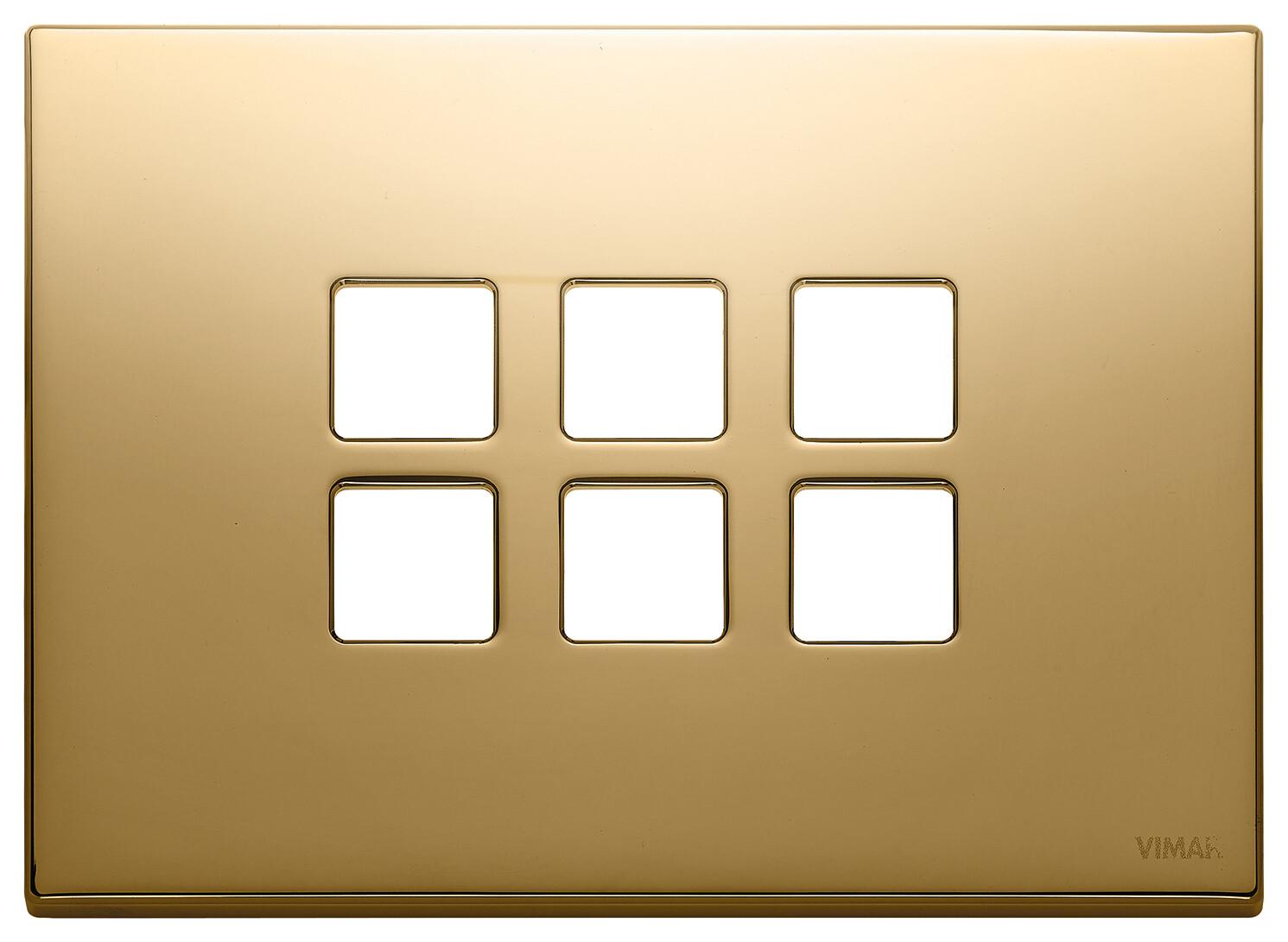 Накладка плоская, 3 мод на 6 кн., золото