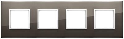 Накладка Evo на 8 модулей (2+2+2+2) расстояние между центрами 71мм, черный сапфир