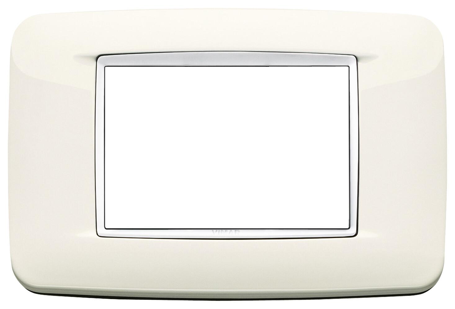 Накладка ROUND на 3 модуля арктическая белая с белым обрамлением