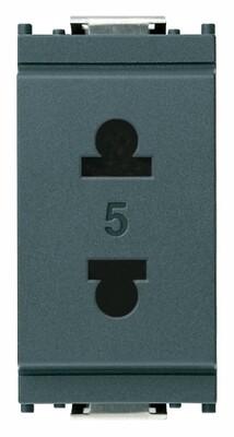 Розетка 2P 15A стандарт США + европейский стандарт D4,8 серая