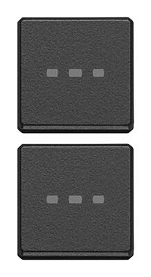 Две плоские клавиши без символов, антрацит