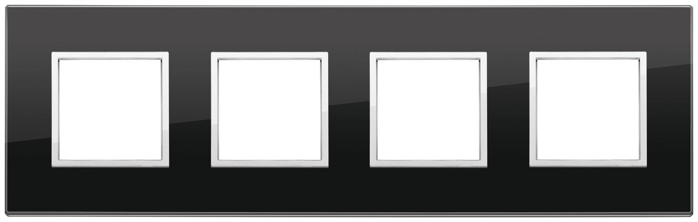 Накладка Evo на 8 модулей (2+2+2+2) расстояние между центрами 71мм, черный бриллиант