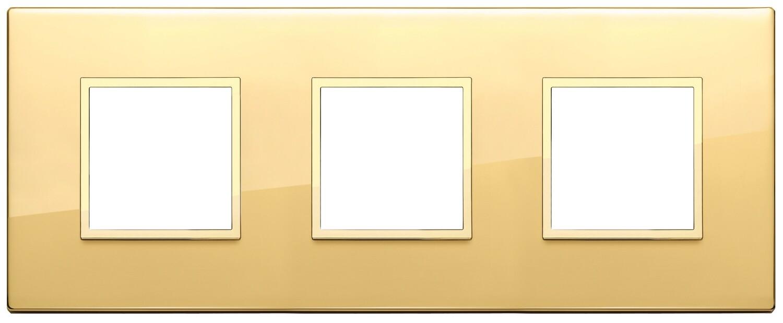 Накладка EVO для 6 модулей (2+2+2) расстояние между центрами 71мм, золото полированное