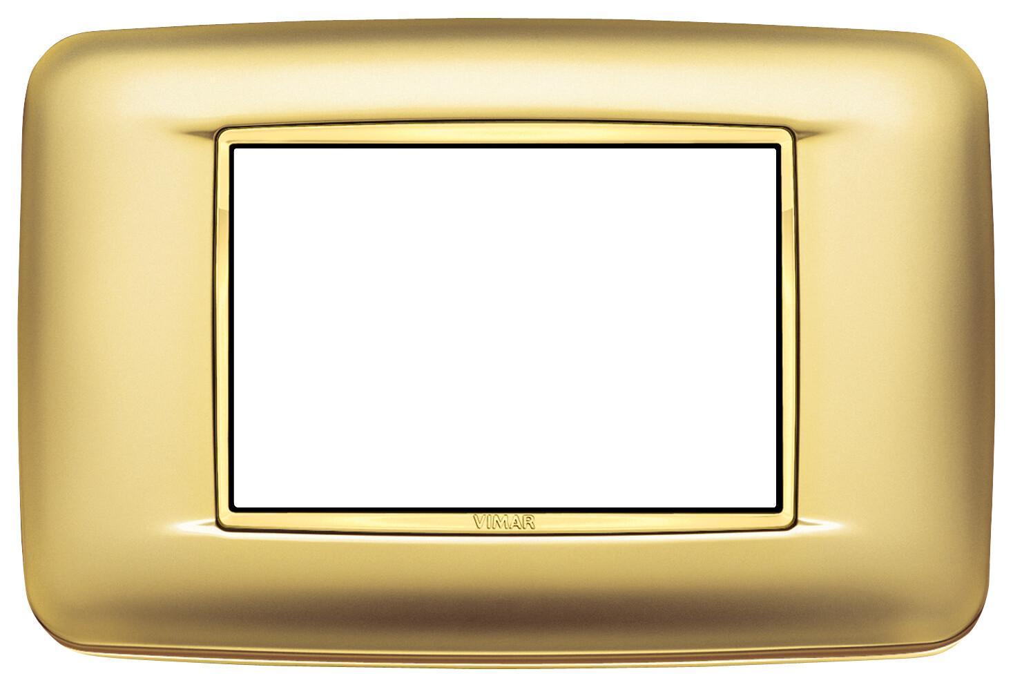 Накладка с закруглениями для 3 модулей золото сатинированое