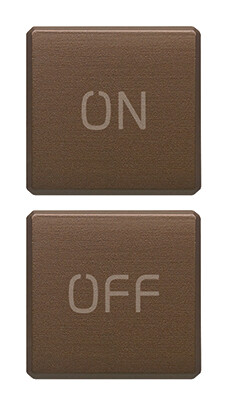 "Две плоские клавиши, символы ""ON/OFF"",  брошир. темная бронза"