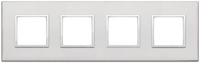Накладка Evo на 8 модулей (2+2+2+2) расстояние между центрами 71мм, серебро