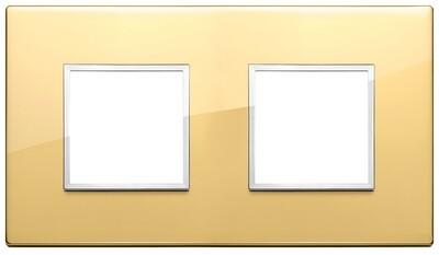 Накладка Evo на 4 модуля (2+2) расстояние между центрами 71мм, глянцевое золото
