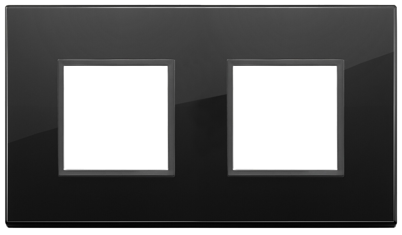 Накладка Evo на 4 модуля (2+2) расстояние между центрами 71мм, полностью черный бриллиант