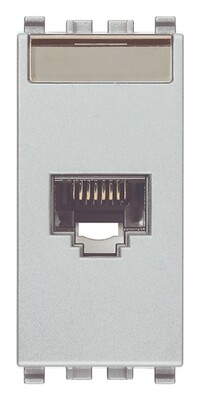 Розетка RJ45 NETSAFE CAT6 UTP 110 ,серебро матовое