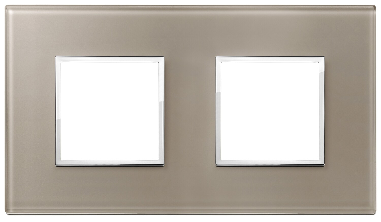 Накладка Evo на 4 модуля (2+2) расстояние между центрами 71мм, коричневый опал