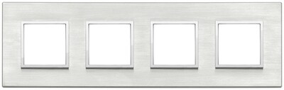 Накладка Evo на 8 модулей (2+2+2+2) расстояние между центрами 71мм, серый серебристый