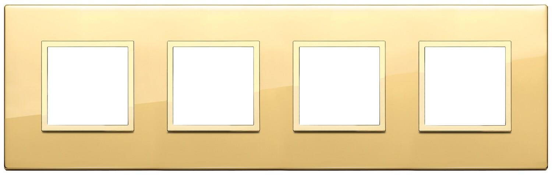 Накладка EVO для 8 модулей (2+2+2+2) расстояние между центрами 71мм, золото полированное