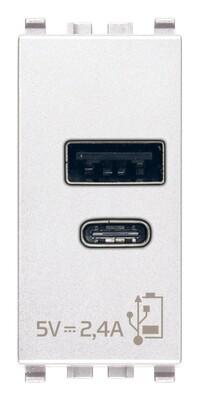 ЗарядноеустройствосразъемомUSBA+C5V2,4A,1модуль,белое