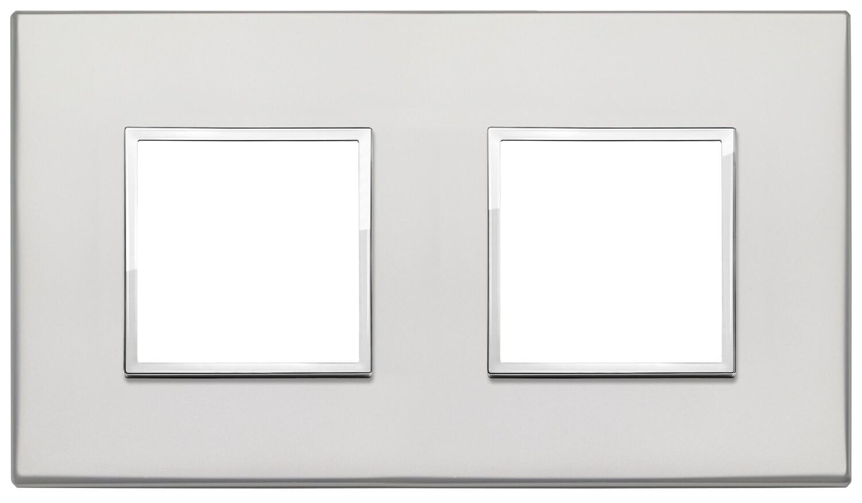 Накладка Evo на 4 модуля (2+2) расстояние между центрами 71мм, серебро