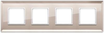 Накладка Evo на 8 модулей (2+2+2+2) расстояние между центрами 71мм, бронзовое зеркало