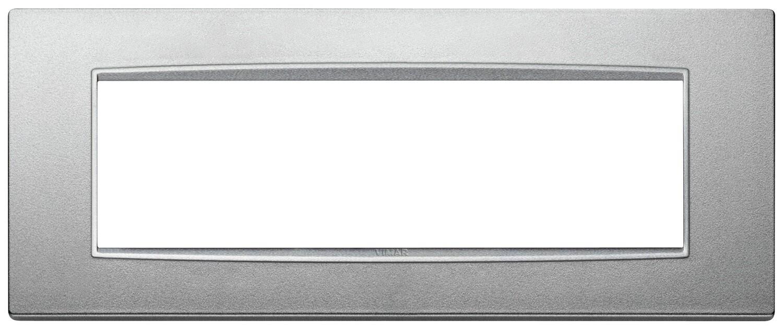 Накладка классика на 7 модулей серебро матовое с серебряным обрамлением