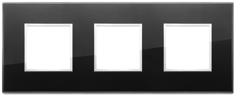 Накладка Evo на 6 модулей (2+2+2) расстояние между центрами 71мм, черный бриллиант