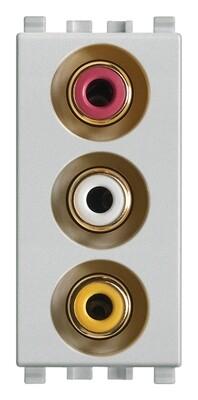 Розетка с тремя RCA коннекторами, серебро матовое