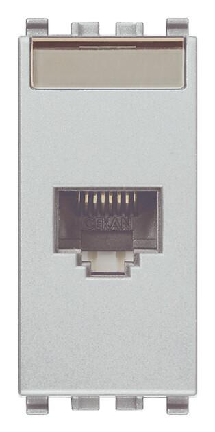 Розетка RJ45 CAT 5E UTP T568A/B ,серебро матовое