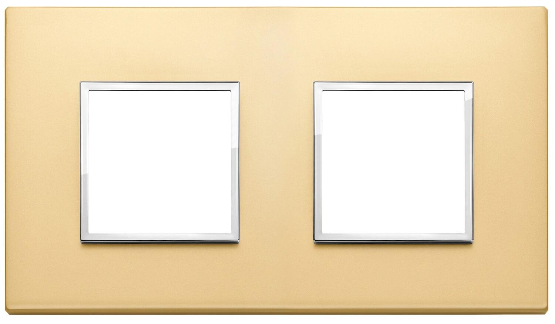 Накладка Evo на 4 модуля (2+2) расстояние между центрами 71мм, сатинированное золото