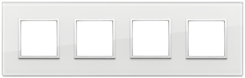 Накладка Evo на 8 модулей (2+2+2+2) расстояние между центрами 71мм, белый бриллиант
