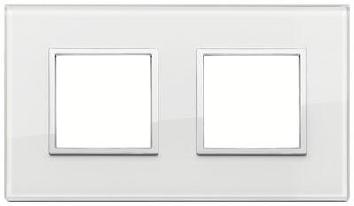 Накладка Evo на 4 модуля (2+2) расстояние между центрами 71мм, белый бриллиант