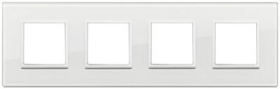 Накладка Evo на 8 модулей (2+2+2+2) расстояние между центрами 71мм, полностью белый бриллиант