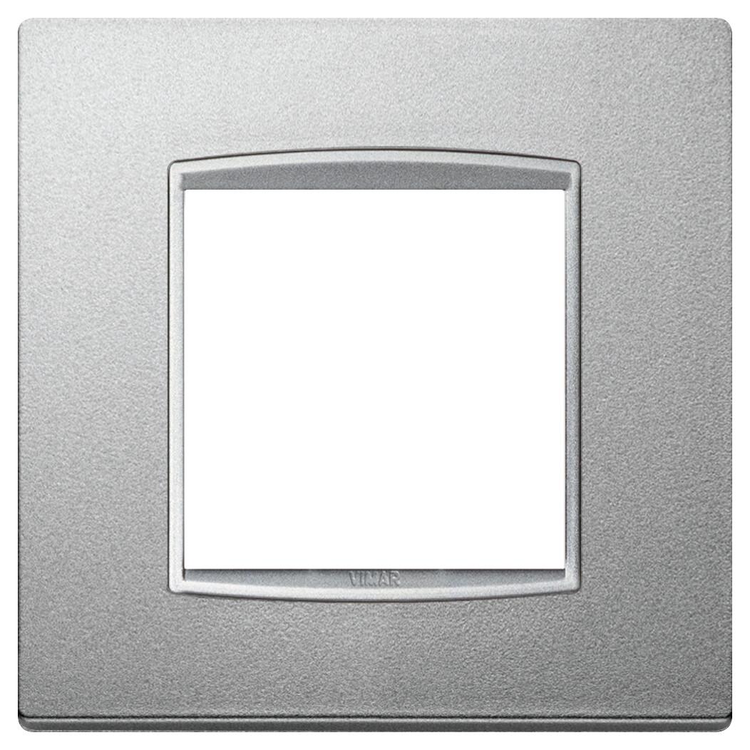 Накладка классика на 2 модуля серебро матовое с серебряным обрамлением
