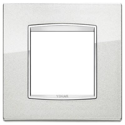 Накладка классика для 2 модуля серебряный металлик