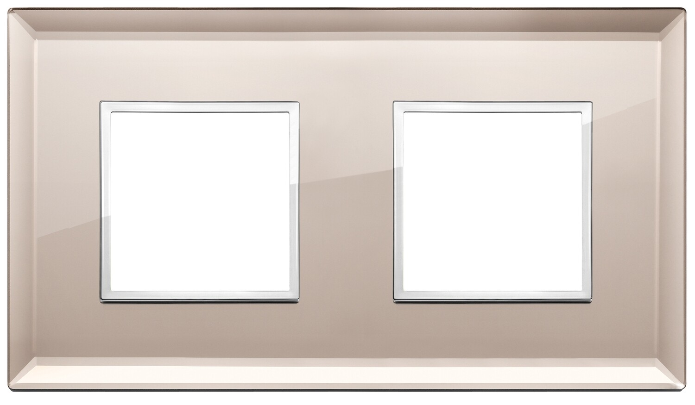 Накладка Evo на 4 модуля (2+2) расстояние между центрами 71мм, бронзовое зеркало