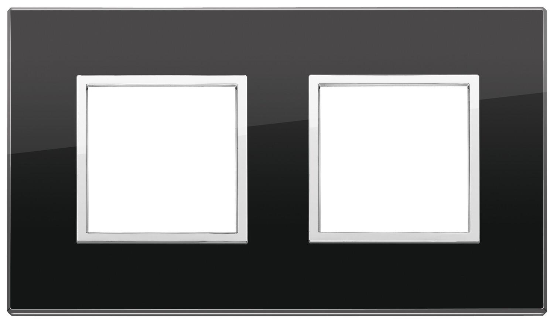 Накладка Evo на 4 модуля (2+2) расстояние между центрами 71мм, черный бриллиант