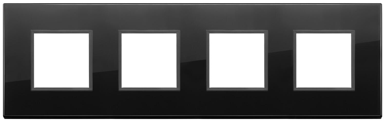 Накладка Evo на 8 модулей (2+2+2+2) расстояние между центрами 71мм, полностью черный бриллиант