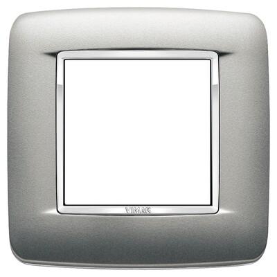 Накладка с закруглениями для 2 модулей серебро матовое