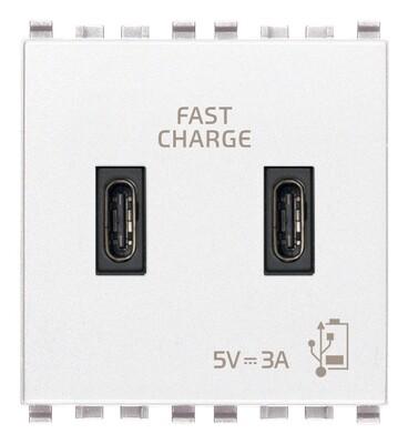 Зарядное устройство с разъемом USB C+C 5V 3A, 2 модуля, белое