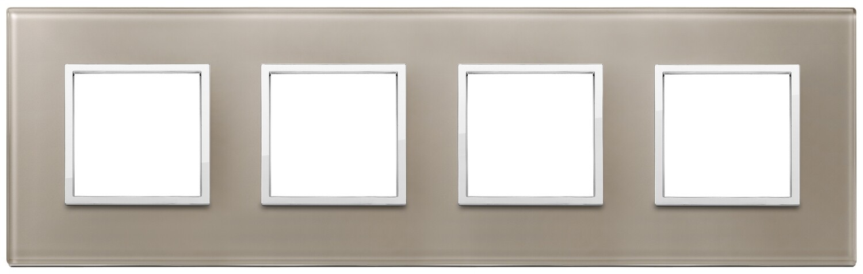 Накладка Evo на 8 модулей (2+2+2+2) расстояние между центрами 71мм, коричневый опал