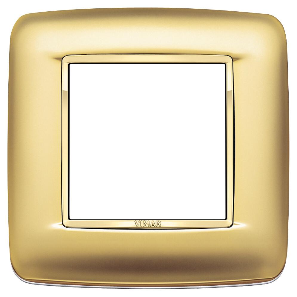 Накладка с закруглениями для 2 модулей золото сатинированое