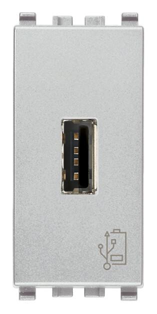 Зарядное устройство с разъемом USB 5V 1,5A, 1модуль, серебро матовое