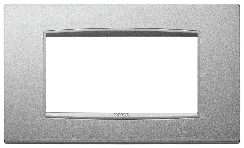 Накладка классика на 4 модуля серебро матовое с серебряным обрамлением