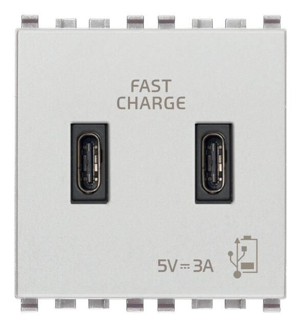 Зарядное устройство с разъемом USB C+C 5V 3A, 2 модуля, серебро матовое