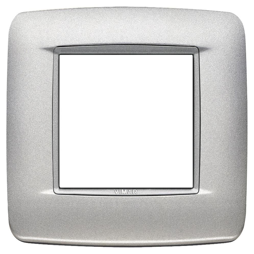 Накладка ROUND на 2 модуля серебро матовое с серебряным обрамлением