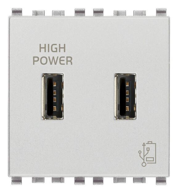 Зарядное устройство с разъемом USB 5V 2,1A, серебро матовое