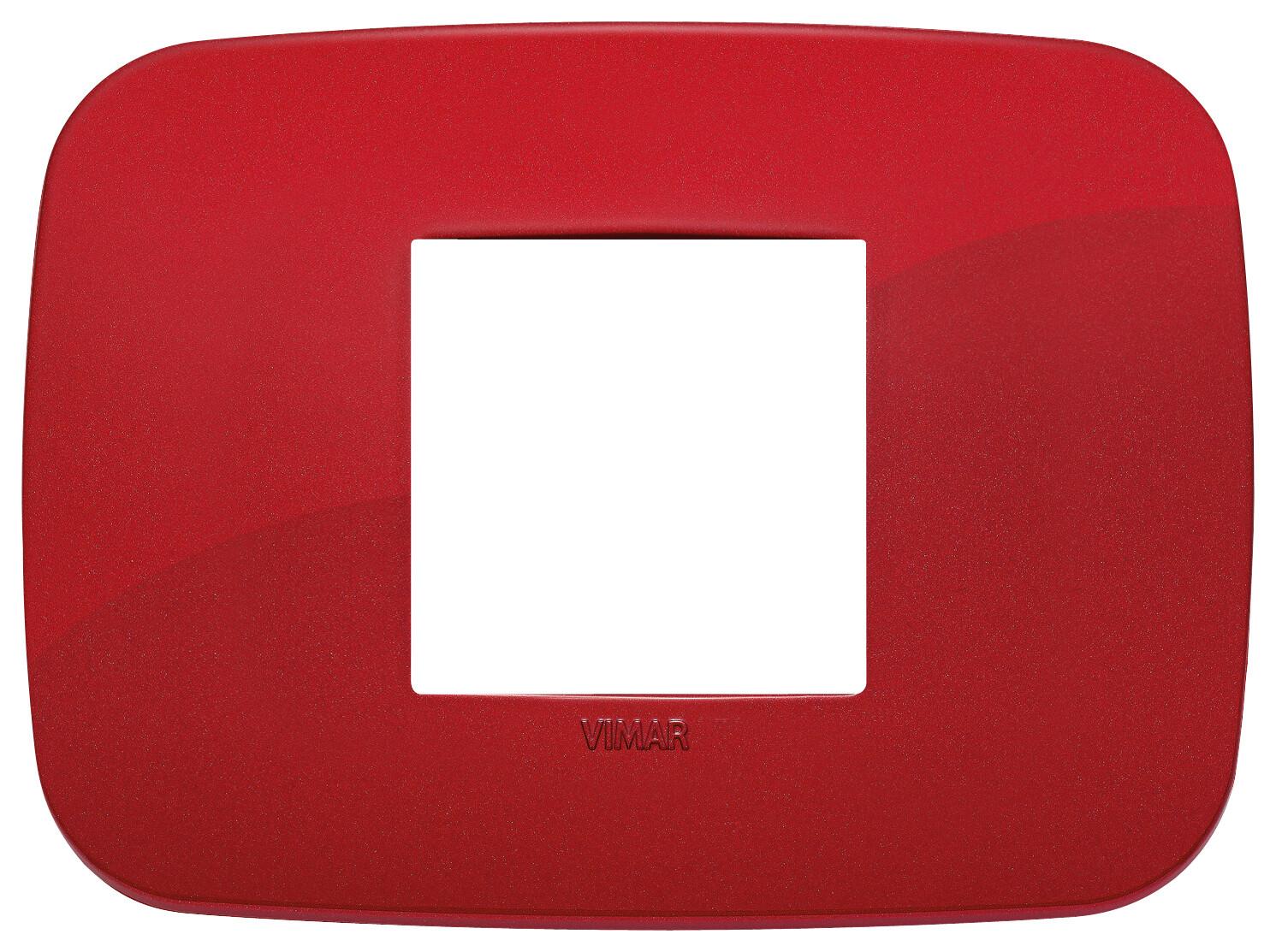 Накладка ROUND на 2 модуля центрально красная