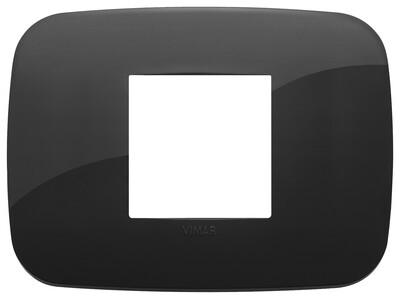 Накладка ROUND на 2 модуля центрально черная