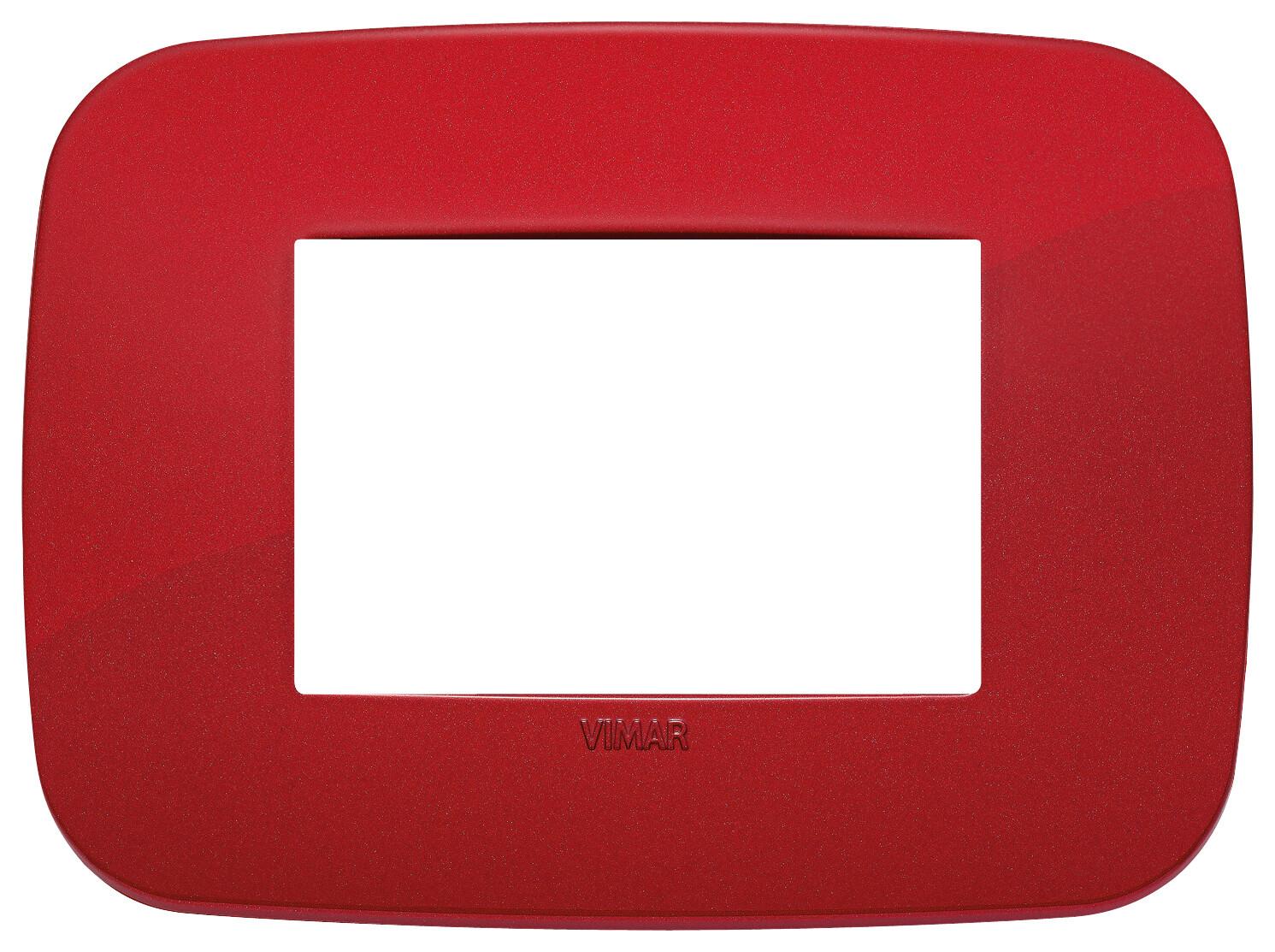 Накладка ROUND на 3 модуля красная