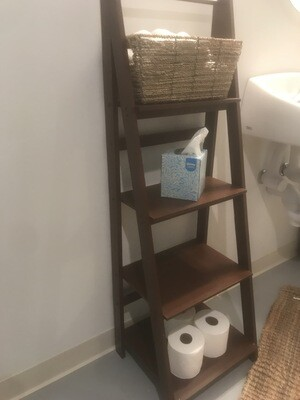 Brown tiered shelving units