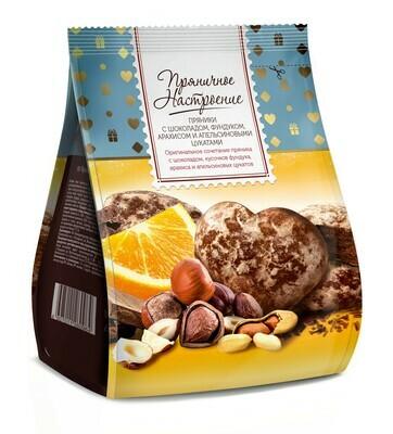 """""""Пряничное настроение"""" Пряники мини с шоколадом, фундуком, арахисом и апельсиновыми цукатами"""